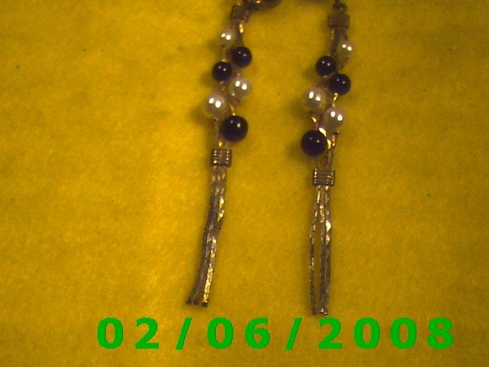 Gold, Bead n Pearl Dangle Pierced Earrings