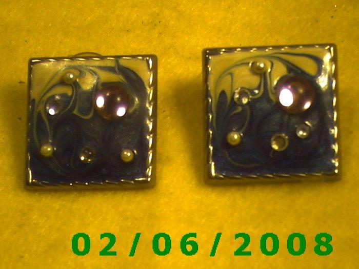 Crystal Beaded Squares Pierced Earrings