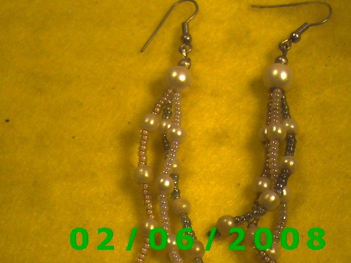 Beed n Pearl Dangle Pierced Earrings
