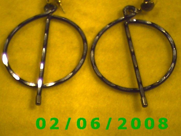 Black n Silver Split Hoop Pierced Earrings (063)