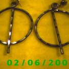 Black n Silver Split Hoop Pierced Earrings (063)