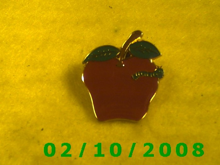 The Apple and the Worm Hat Pin