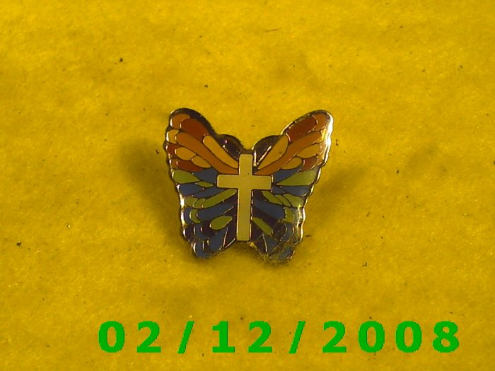 Butterfly w/Cross Hat Pin