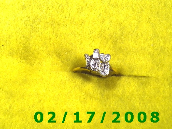 Ring Solid Gold, 10kt  w/diamonds + I love you size 8 (F010)