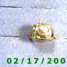 Gold Plated Ring size 6 w/pearl signed PD