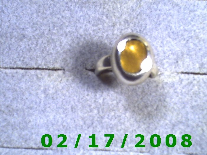 Silver Ring size 6 w/gold inlayed stone