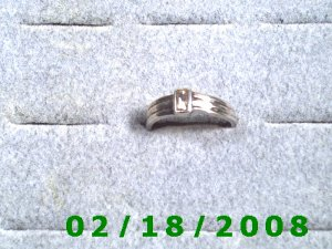 .925 Silver Ring size 6 w/clear rectangle stone