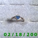 .925 Silver Ring size 6 w/blue stone, heart shaped