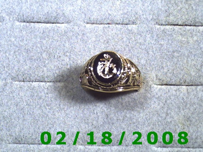 Gold Shield Guard Ring, Navy, size 10, Lifetime Warranty