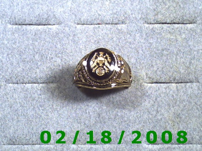 Gold Shield Guard Ring, Green Baret, size 11, Warranty