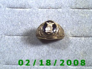 Gold Shield Guard Ring, Air Force, size 12,  Warranty