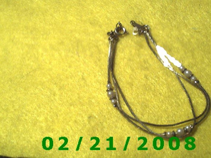 "7 1/2"" Gold 3 Strand w/Pearls Bracelett (015)"