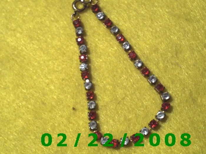Red and Clear Rhinestone Bracelet for Children  (024)