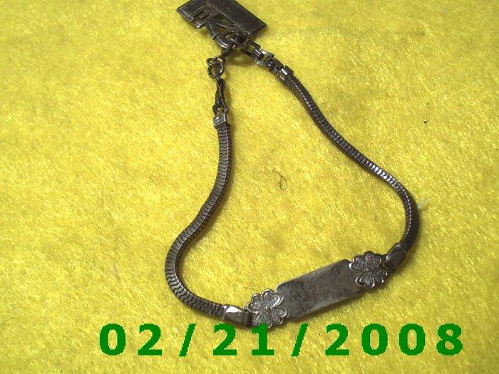 Sterling Silver ID Bracelet USA w/Love charm (013)