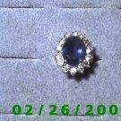 Ring Silver w/blue stone, 14 cz's size 5 (001)