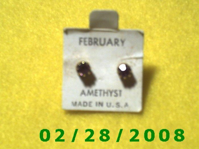 Earrings, Pierced  Birthstone February USA.