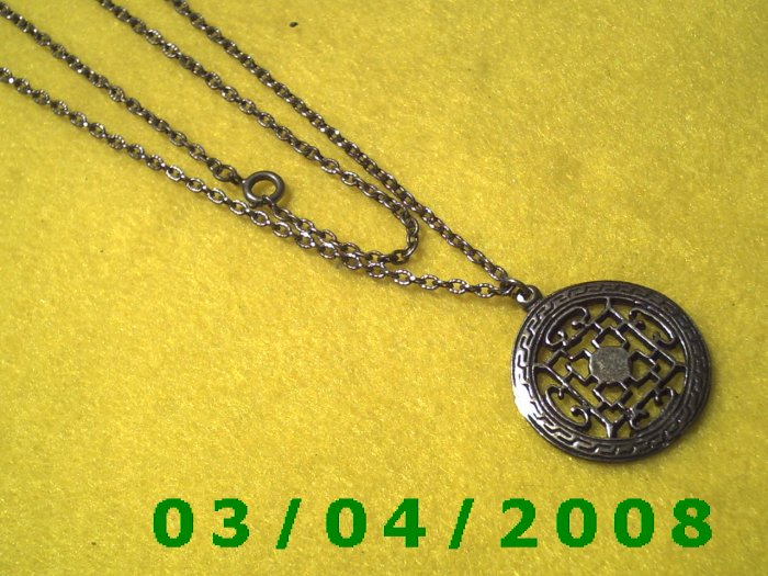 """24"""" Silver Necklace w/Medallion (046)"""