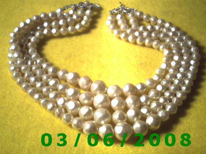 "15 1/2""  4 Strand Bead Necklace (014)"