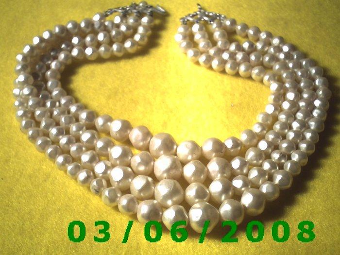 "15 1/2""  4 Strand Bead Necklace (014)"