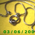 "40"" Silver Necklace Adjustable w/Silver Charm (021)"