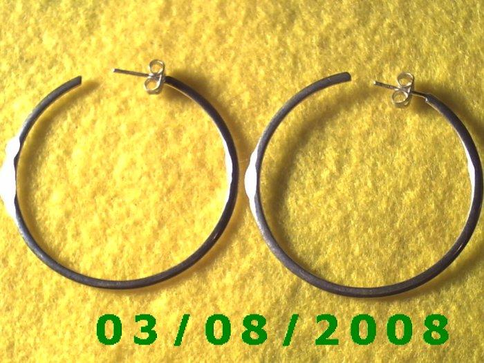 """Silver Hoop Earrings 1 3/4"""" (012)"""