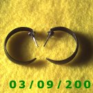 "1"" Black Hoop Pierced Earrings (013)"