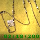 """37"""" 2mm Gold Necklace w/pearls (011)"""