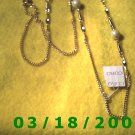 """36"""" 2mm Gold Necklace w/pearls (012)"""