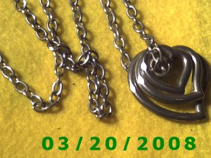 "30"" 5mm Silver Necklace w/Hearts (E-4002"