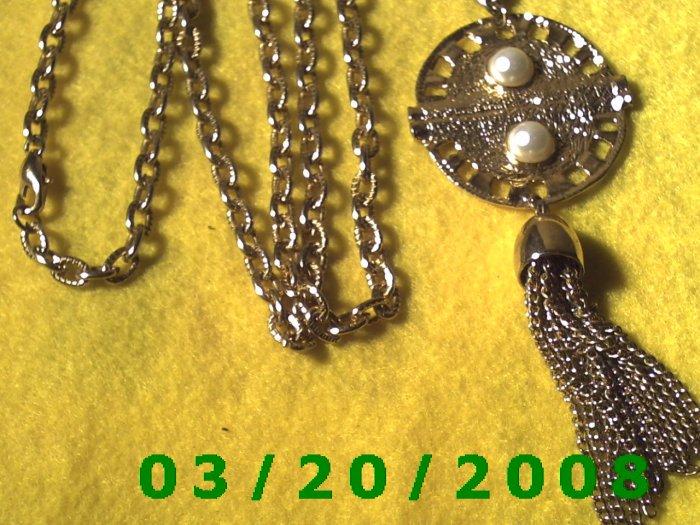 "36"" 5mm Gold Necklace w/Medallion n Tassle  (E-4007)"