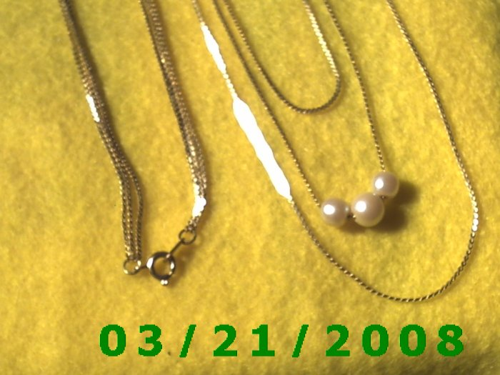 "22 1/2"" 1mm 3 Strand Gold Necklace w/Pearls  (E-4011)"