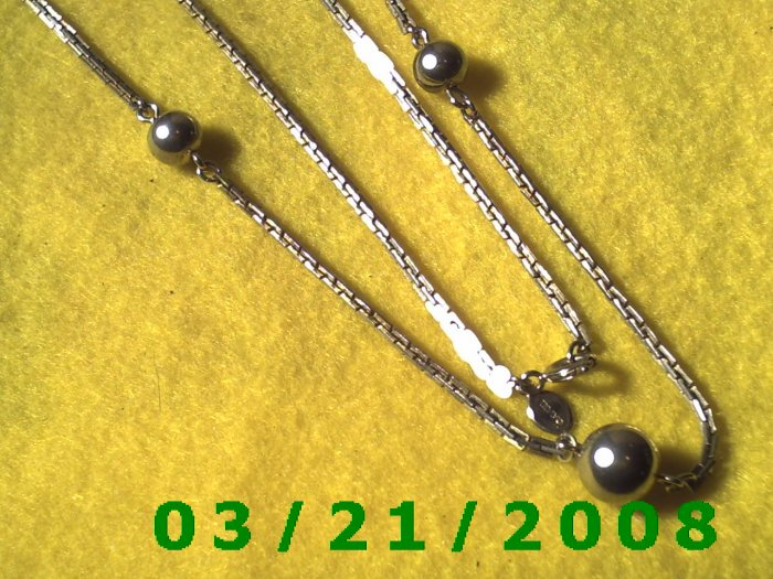 "26"" 2mm Silver Necklace w/Silver Beads (Avon)  (E-4022)"