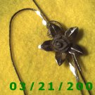 "28"" 1mm Silver Necklace w/Silver Flower, Adjustable  (E-4023)"