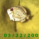 """7/8 x 1 1/4"""" Gold Button Cover (Fish) Ruby Stone  (R007)"""