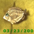 "7/8 x 1 1/4"" Gold Button Cover (Fish) Emerald Stone  (R025)"
