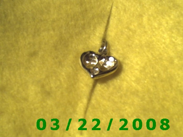 "9/16"" Silver Heart Charm w/Pink stone  (R016)"