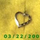 """7/8"""" Silver Heart Charm w/Emeralds n Rhinestones  (R032)"""