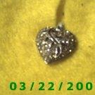 """3/4"""" Silver Heart Charm w/Rhinestones  (R033)"""
