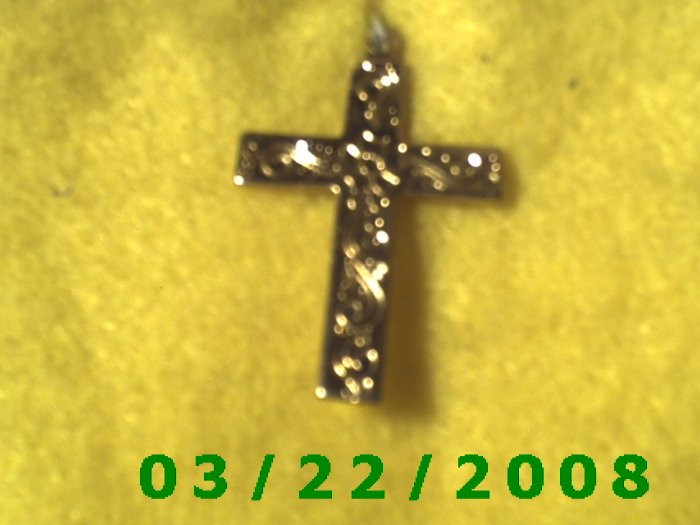 "3/4 x 1 1/4"" Gold Cross Charm  (R039)"