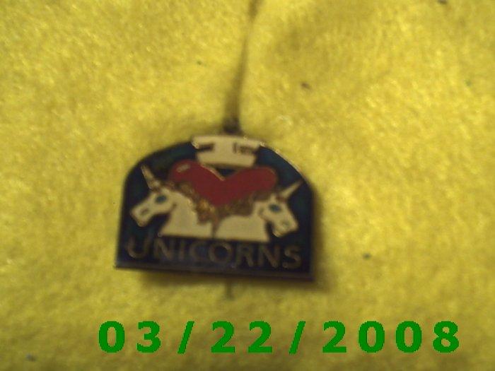 "7/8 x 3/4"" Gold Charm w/I Love Unicorns  (R043)"