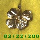 """1 1/8 x 1 1/4"""" Gold 4 leaf clover w/rhinestones  (R045)"""