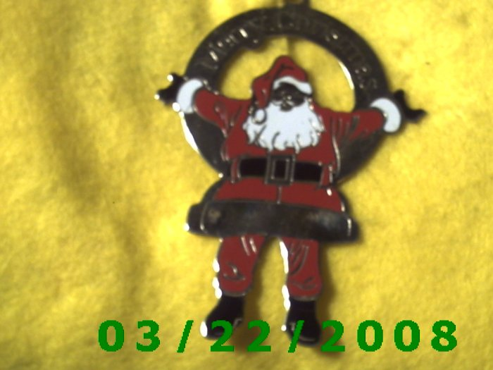 "2 3/8 x 3 1/4"" Silver Santa Clause w/from Timothy Frey  (R055)"