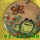 "2"" Painted Medallion w/Frog and Butterfly  (R056)"