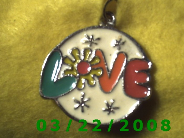 "1 1/2 x 1 3/8"" Silver Medallion w/Love  (R057)"