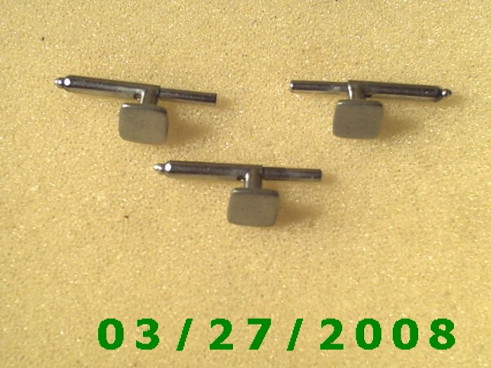 1 trio Silver Cuff Links engraveable (small)   (027)