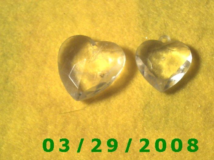 2ea Crystal Heart Charms  (003)