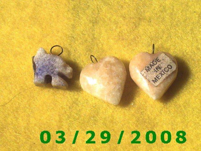 3ea Stone Heart Charms  (004)