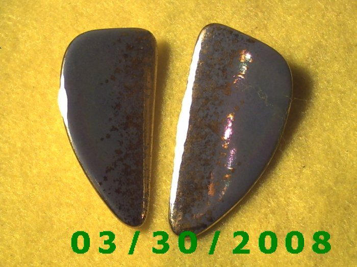 Gold n Blue Pierced Earrings  (025)