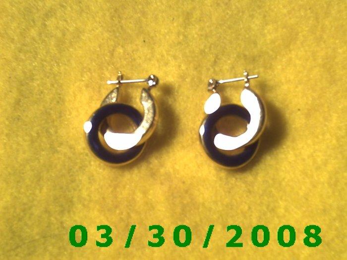 Gold n Blue Pierced Earrings  (028)