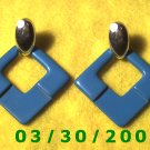 Silver n Blue Pierced Earrings  (037)